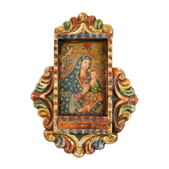 Virgin And Child Colonial Peru Handmade Retablo Religious Handcarved Altarpiece (71-100-04513)