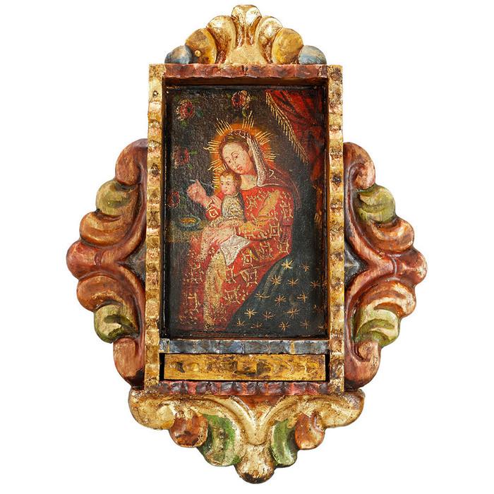 Virgin And Child Colonial Peru Handmade Retablo Religious Handcarved Altarpiece (71-100-04522)