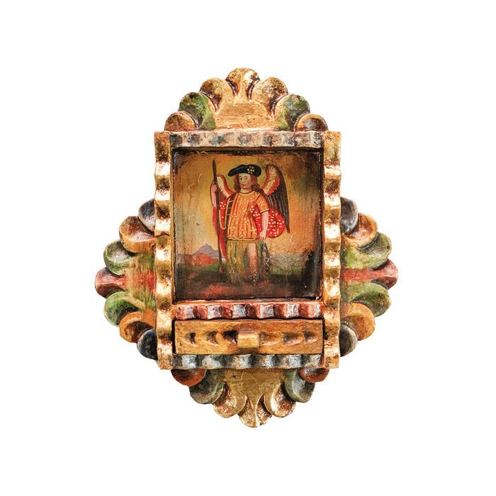 Archangel Raphael Colonial Peru Art Handmade Retablo Handcarved Altarpiece (71-100-04547)