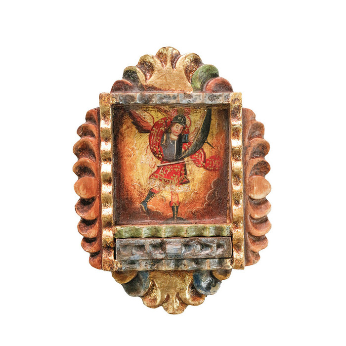 Archangel Michael Colonial Peru Handmade Retablo Religious Handcarved Altarpiece (71-100-04549)