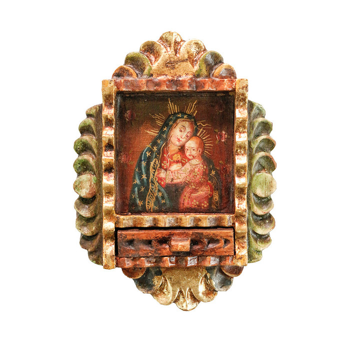 Virgin and Child Colonial Peru Art Handmade Retablo Handcarved Altarpiece (71-100-04550)