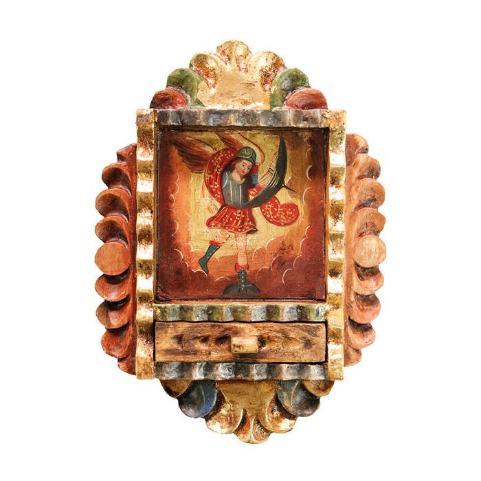 Archangel Michael Colonial Peru Handmade Retablo Religious Handcarved Altarpiece (71-100-04552)
