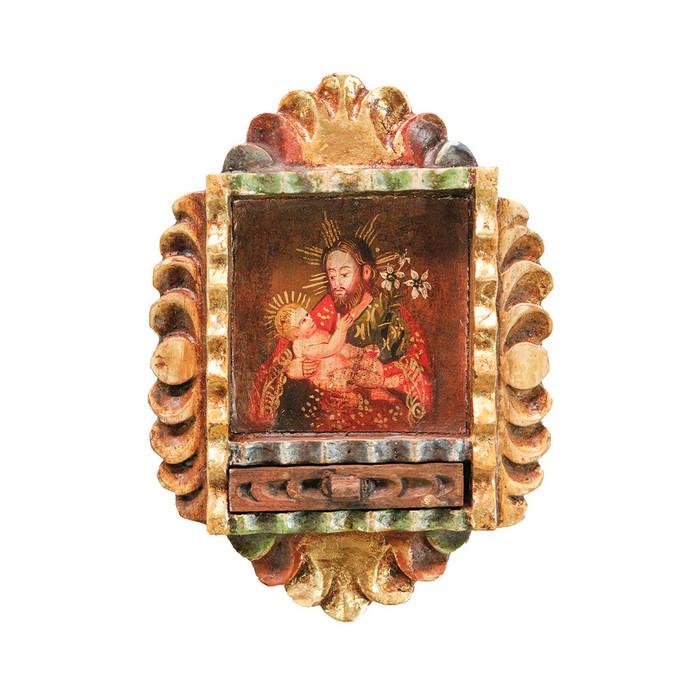 Saint Joseph and Child Colonial Peru Art Handmade Retablo Handcarved Altarpiece (71-100-04554)