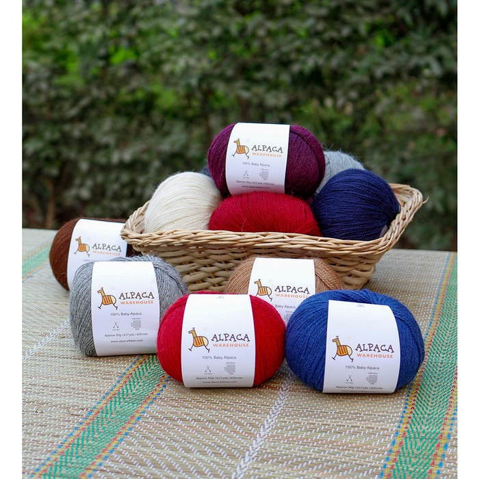 100% Baby Alpaca Yarn Wool Set Of 3 Skeins Lace Weight