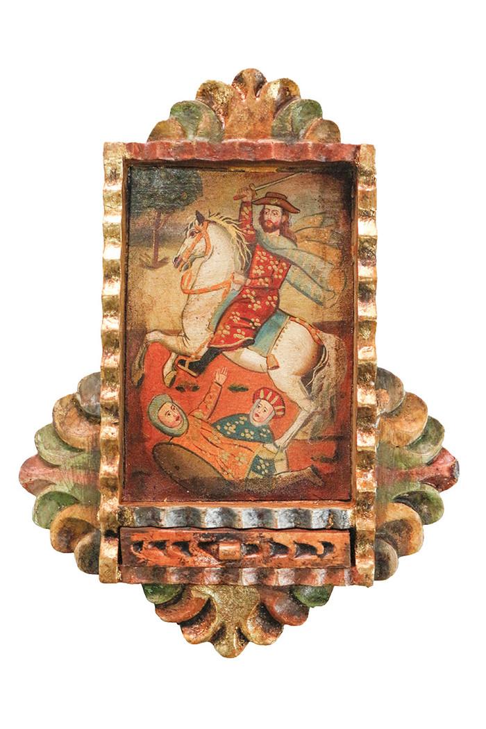 Saint James Colonial Peru Art Handmade Retablo Handcarved Altarpiece
