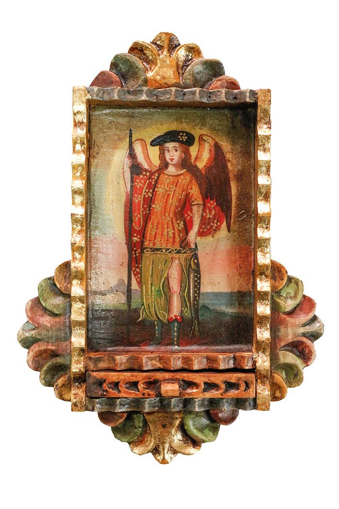 Archangel Raphael Colonial Peru Art Handmade Retablo Handcarved Altarpiece