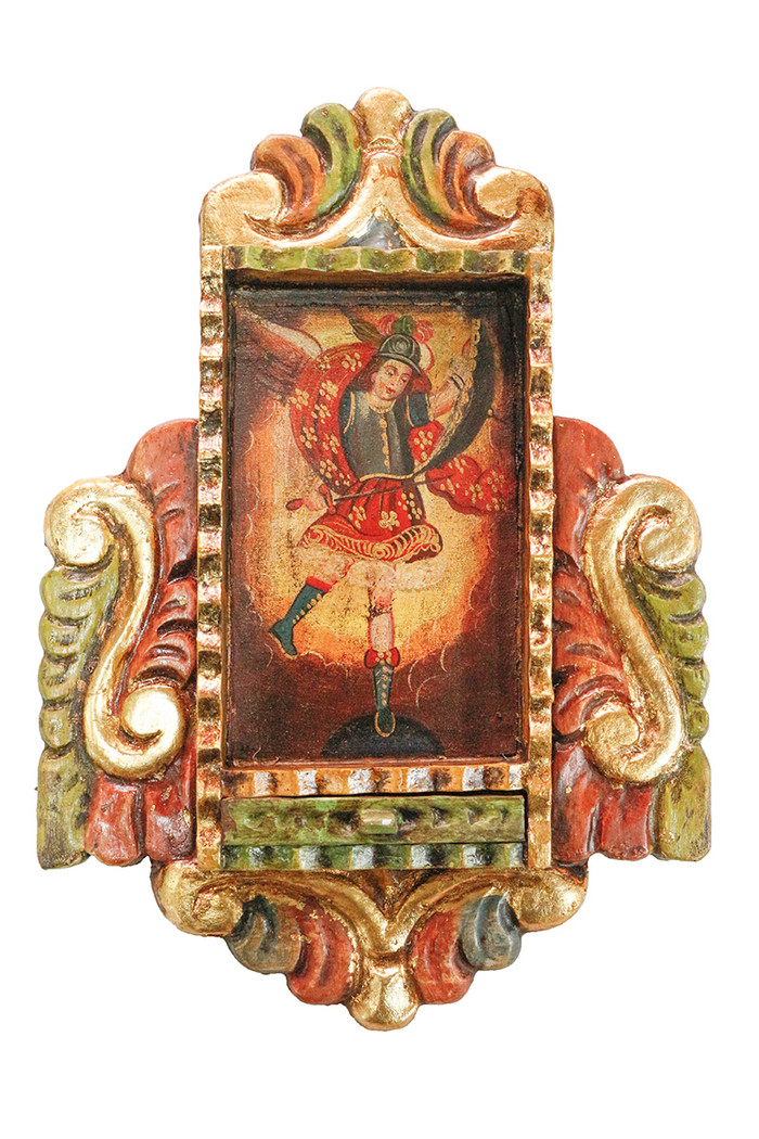 Archangel Michael Colonial Peru Art Handmade Retablo Handcarved Altarpiece