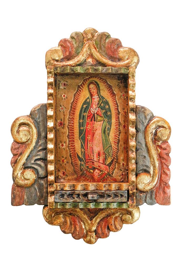 Guadalupe Virgin Colonial Peru Art Handmade Retablo Handcarved Altarpiece