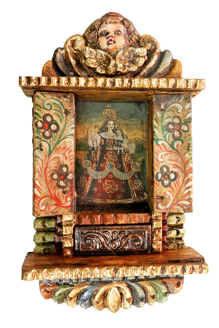 Rosary Lady Virgin Colonial Peru Art Handmade Retablo Handcarved Altarpiece