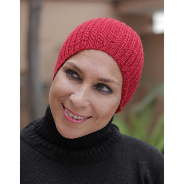 Superfine Alpaca Wool Knit Beanie Ski Hat Red One Size