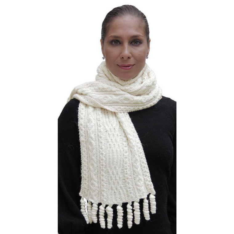 Chunky Superfine Handknitted Alpaca Scarf Ivory