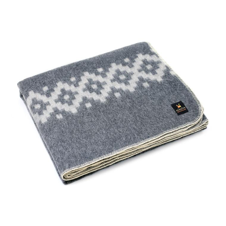Alpaca Wool Thick Military Banderita Blanket Twin Size - Ethnic Design