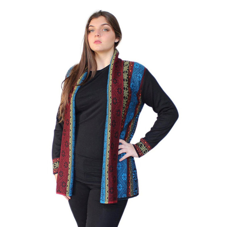 Women's 100% Baby Alpaca Wool Knitted Coat Sweater Yakar Cusco