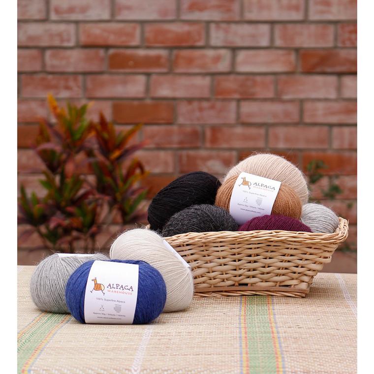 100% Alpaca Yarn Wool Set Of 3 Skeins Fingering Weight