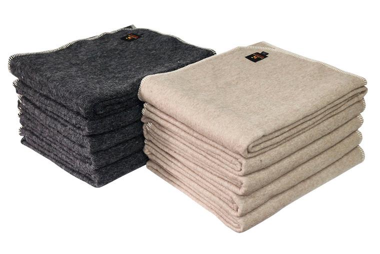 Alpaca Wool Thick Military Banderita Blanket - Solid Melange Color - Twin Size