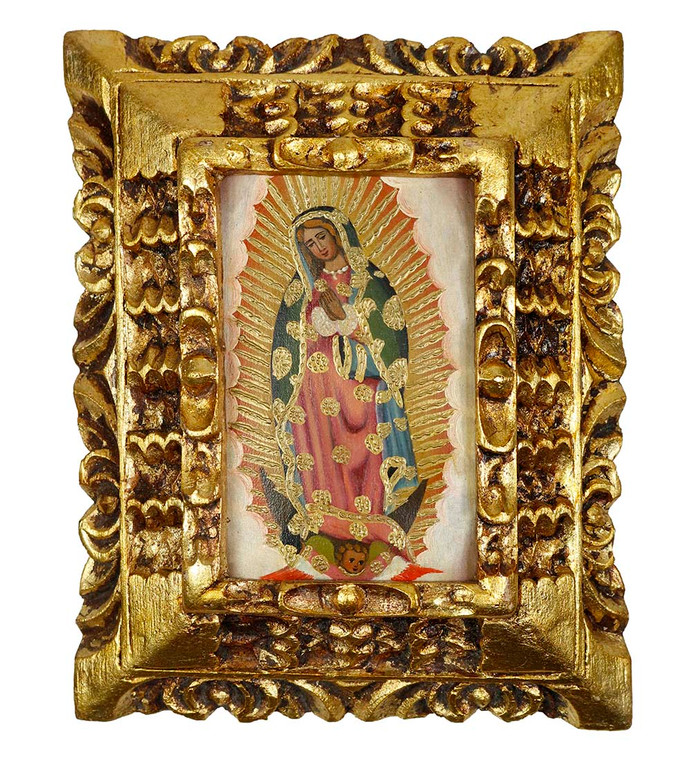 Guadalupe Virgin Framed Handcarved Colonial Cusco Peru Oil Painting On Canvas 2386