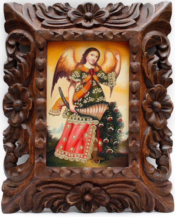 Archangel Gabriel Framed Handcarved Colonial Cusco Peru Oil Painting On Canvas (86-014-02270)