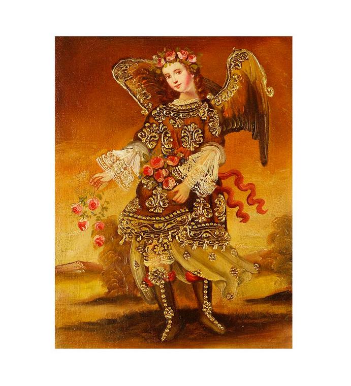 "Archangel Barachiel Original Colonial Cuzco Peru Folk Art Oil Painting On Canvas 8"" x 6"" (30-100-07420)"