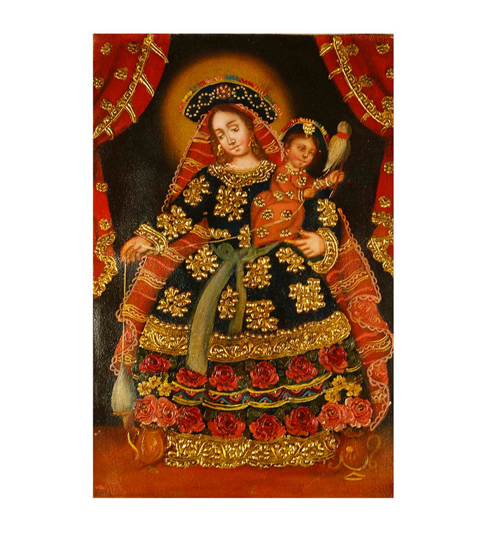 "Virgin And Child Original Colonial Cuzco Peru Folk Art Oil Painting On Canvas 12"" x 8"" (30-100-07429)"