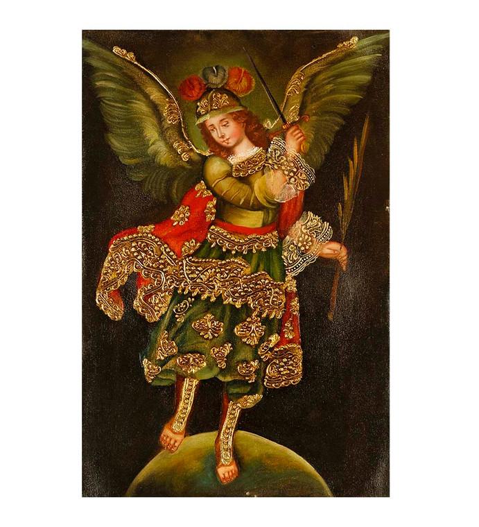 "Archangel Michael Original Colonial Cuzco Peru Folk Art Oil Painting On Canvas 12"" x 8"" (30-100-07431)"