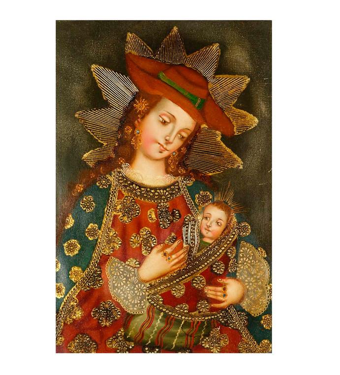 "Virgin And Child Original Colonial Cuzco Peru Folk Art Oil Painting On Canvas 12"" x 8"" (30-100-07442)"