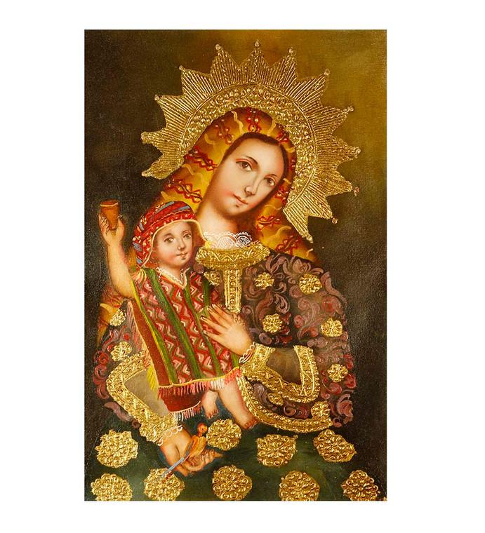 "Virgin And Child Original Colonial Cuzco Peru Folk Art Oil Painting On Canvas 12"" x 8"" (30-100-07444)"