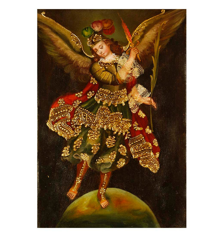 "Archangel Michael Original Colonial Cuzco Peru Folk Art Oil Painting On Canvas 12"" x 8"" (30-100-07452)"