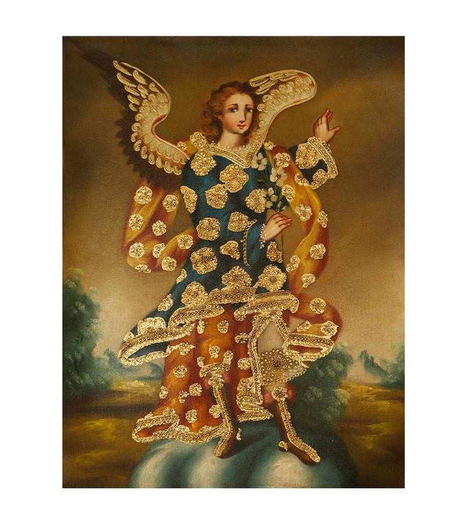 "Angel With Flowers Original Colonial Cuzco Peru Folk Art Oil Painting On Canvas 12"" x 8"" (30-100-07480)"