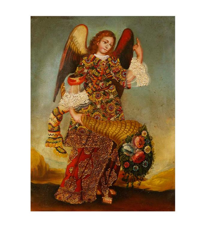 """Archangel Gabriel Original Colonial Cuzco Peru Folk Art Oil Painting On Canvas 12"""" x 8"""" (30-100-07487)"""