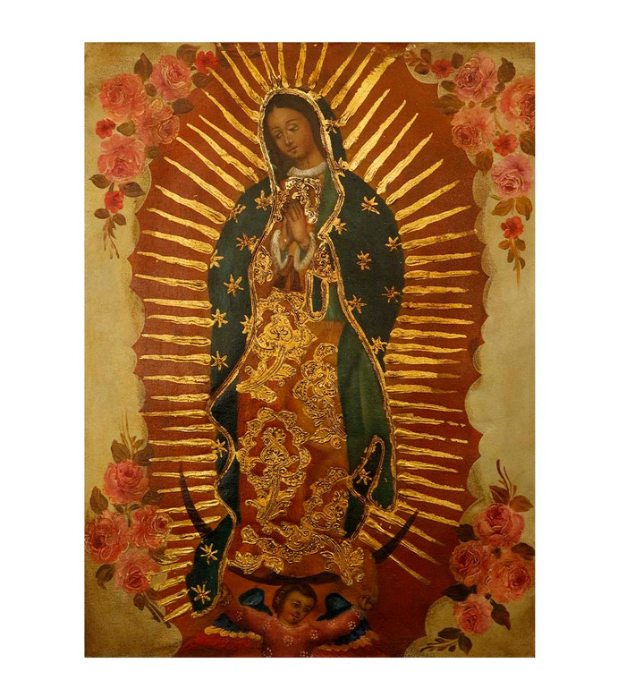 "Guadalupe Virgin Original Colonial Cuzco Peru Folk Art Oil Painting On Canvas 12"" x 8"" (30-100-07497)"
