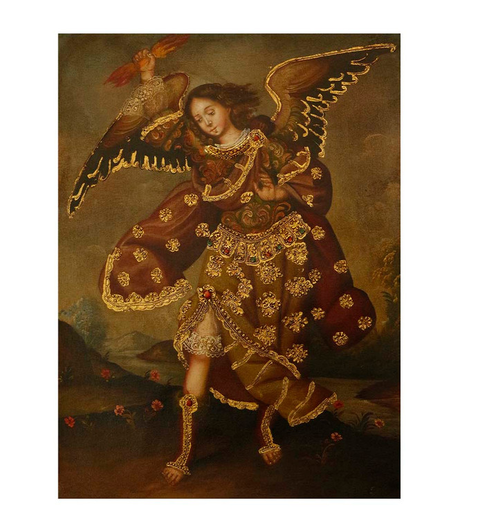 """Archangel Zadkiel Original Colonial Cuzco Peru Folk Art Oil Painting On Canvas 12"""" x 8"""" (30-100-07498)"""