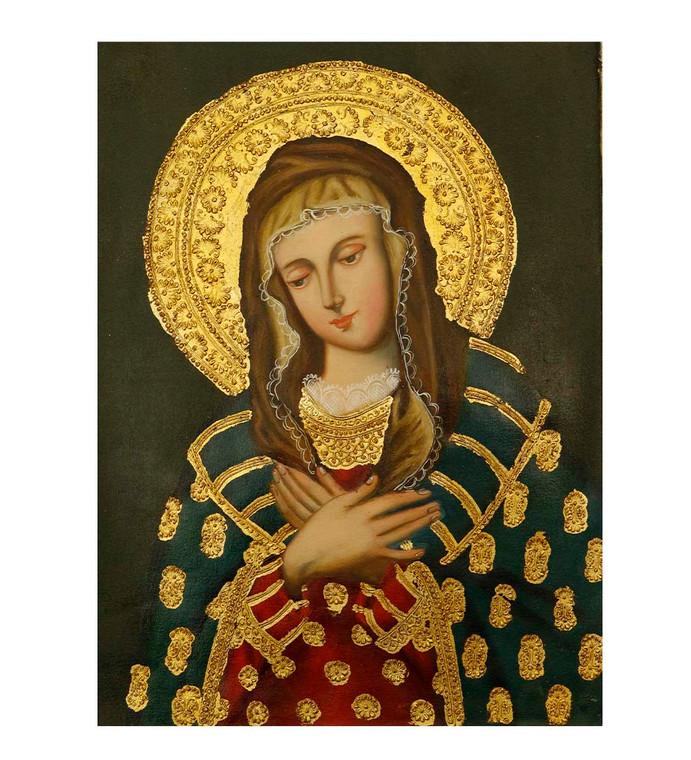 "Virgin Mary Original Colonial Cuzco Peru Folk Art Oil Painting On Canvas 12"" x 8"" (30-100-07499)"