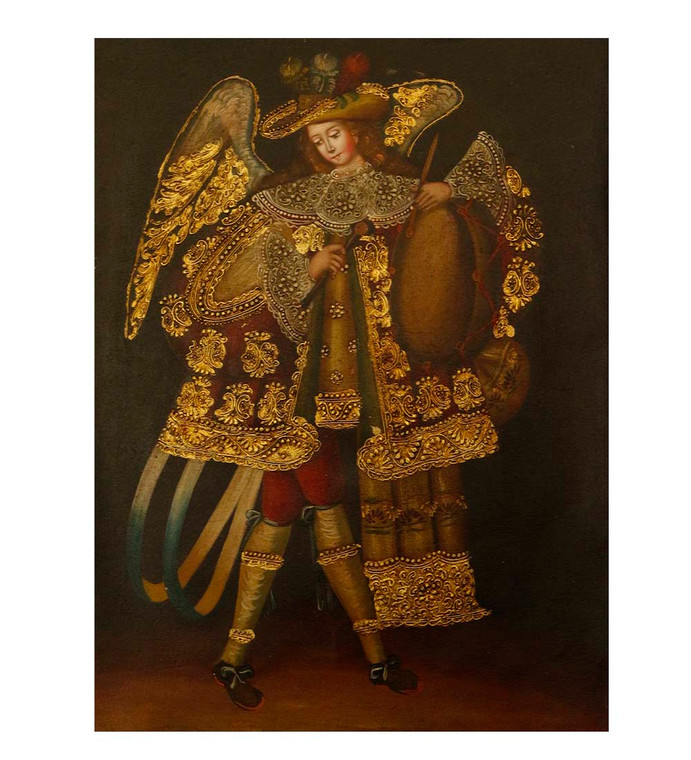 "Musician Archangel Original Colonial Cuzco Peru Folk Art Oil Painting On Canvas 12"" x 8"" (30-100-07501)"