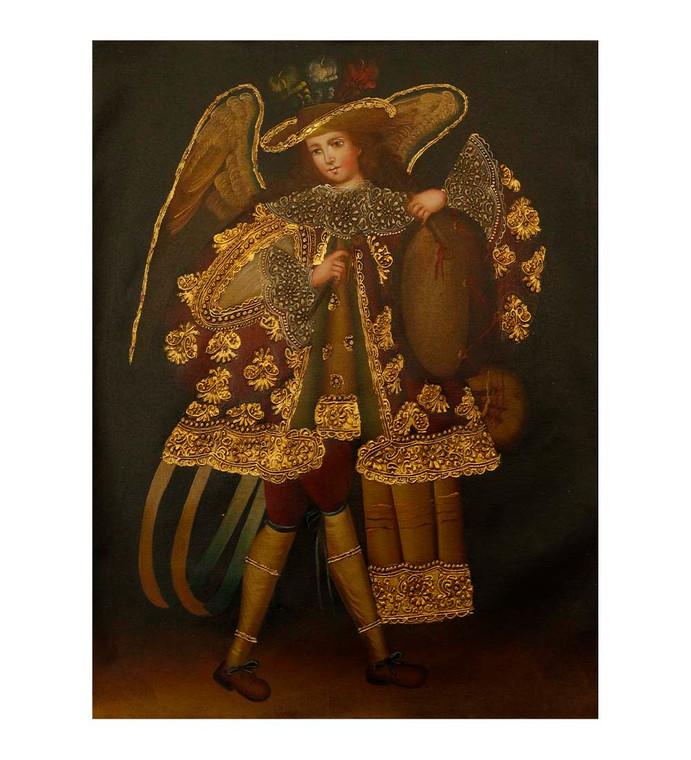 "Musician Archangel Original Colonial Cuzco Peru Folk Art Oil Painting On Canvas 12"" x 8"" (30-100-07502)"