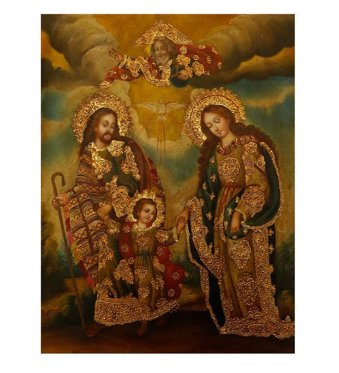 "Sacred Family Original Colonial Cuzco Peru Folk Art Oil Painting On Canvas 12"" x 8"" (30-100-07507)"