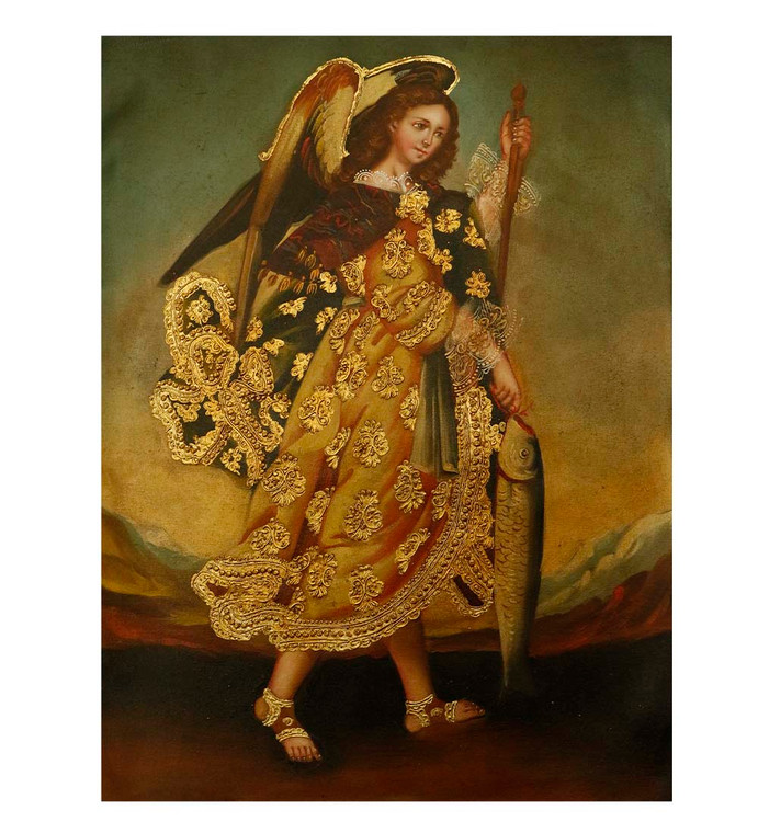"Archangel Raphael Original Colonial Cuzco Peru Folk Art Oil Painting On Canvas 12"" x 8"" (30-100-07509)"