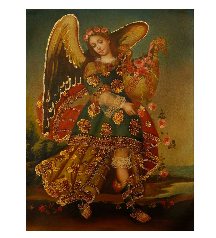 "Archangel Barachiel Original Colonial Cuzco Peru Folk Art Oil Painting On Canvas 12"" x 8"" (30-100-07511)"