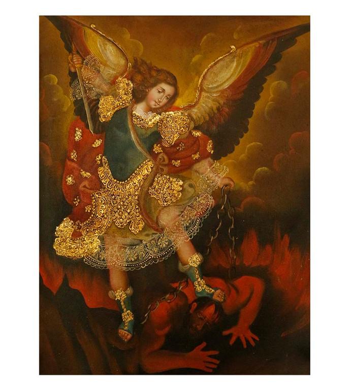 "Archangel Michael Original Colonial Cuzco Peru Folk Art Oil Painting On Canvas 12"" x 8"" (30-100-07515)"