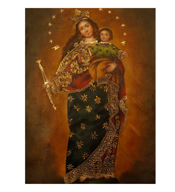 "Virgin And Child Original Colonial Cuzco Peru Folk Art Oil Painting On Canvas 12"" x 8"" (30-100-07518)"