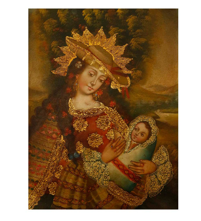 "Virgin And Child Original Colonial Cuzco Peru Folk Art Oil Painting On Canvas 12"" x 8"" (30-100-07521)"