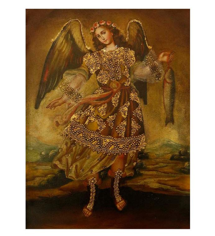 "Archangel Raphael Original Colonial Cuzco Peru Folk Art Oil Painting On Canvas 12"" x 8"" (30-100-07522)"
