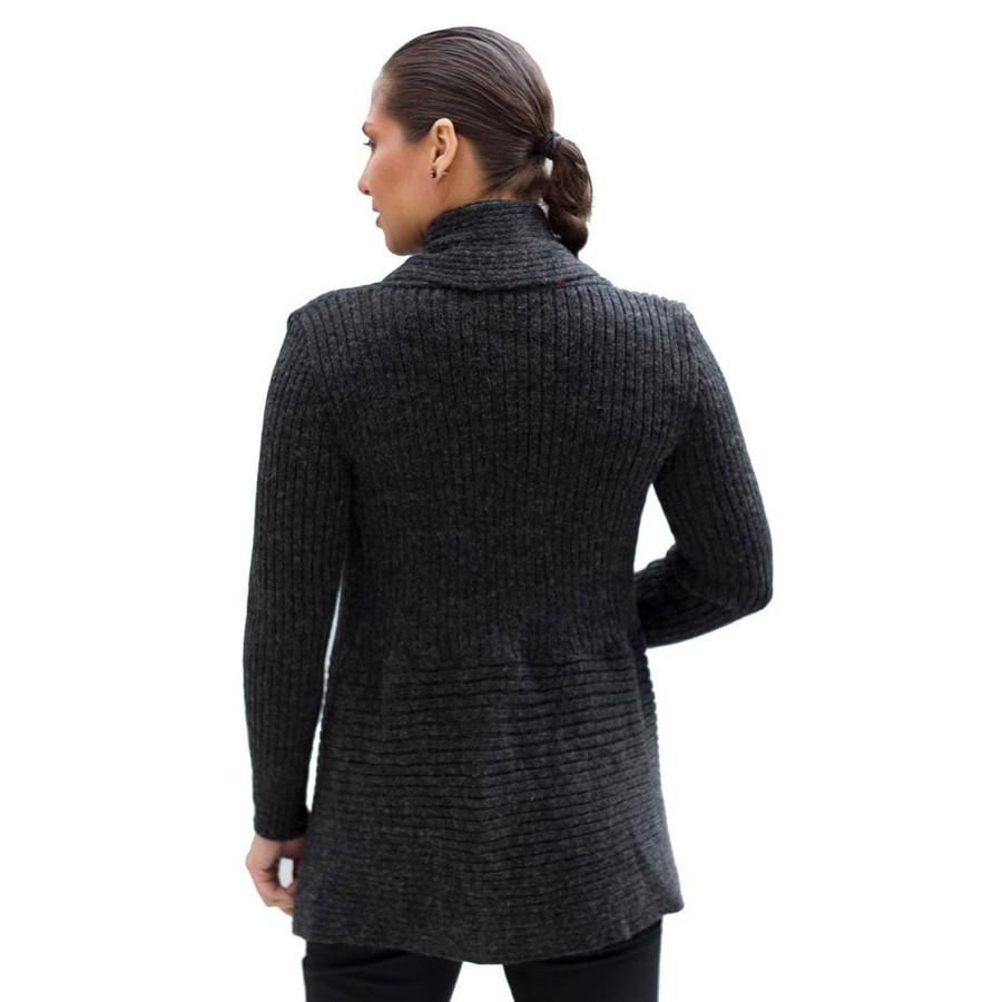 Women's Alpaca Wool Coat SZ M Charcoal Gray (11L-040-499M)