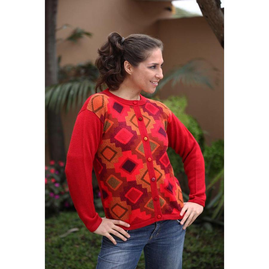 Womens Superfine Alpaca Wool CHACANA Intarsia Cardigan Sz M (12-035-09364)