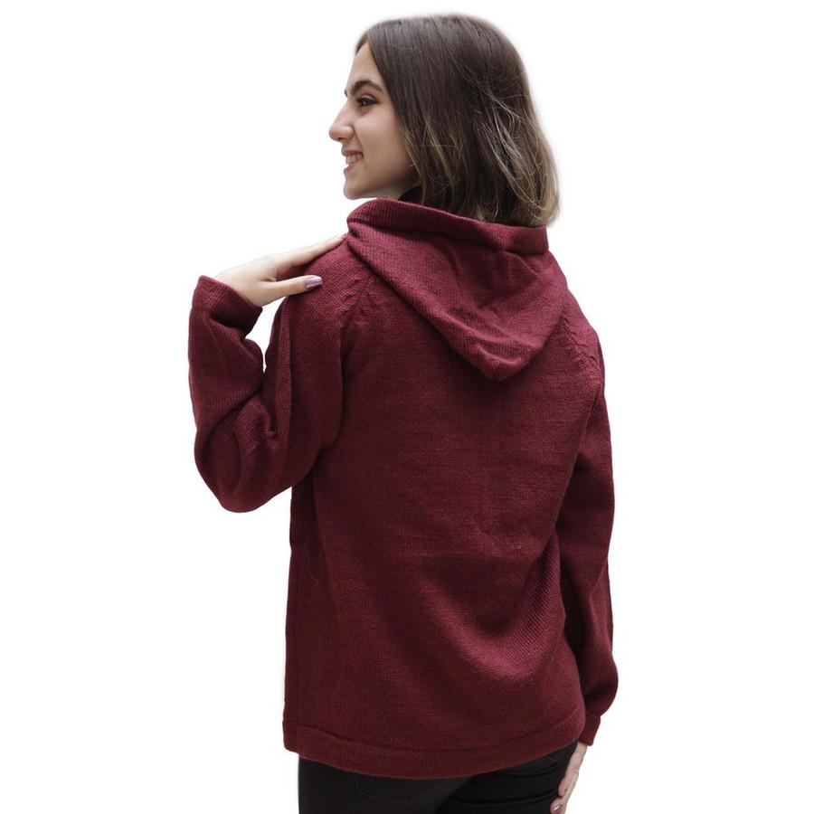 Hooded Alpaca Wool Jacket SZ XL Wine Burgundy (14F-015-843XL)