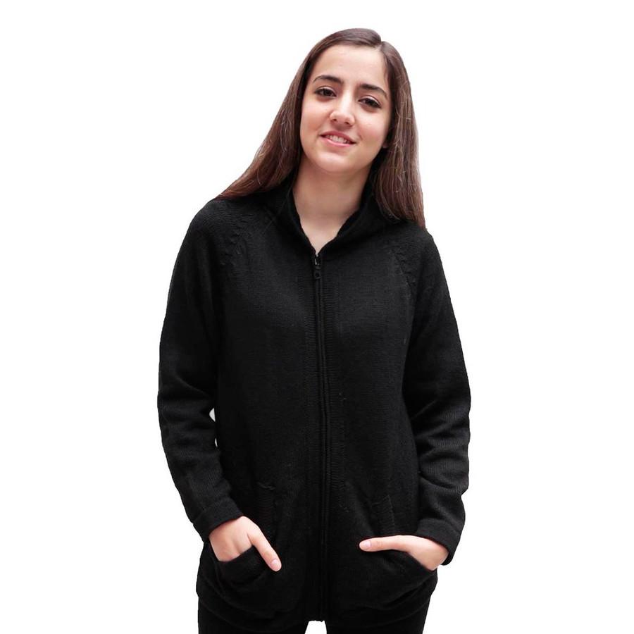 Hooded Alpaca Wool Jacket SZ L Black (14F-033-500L)