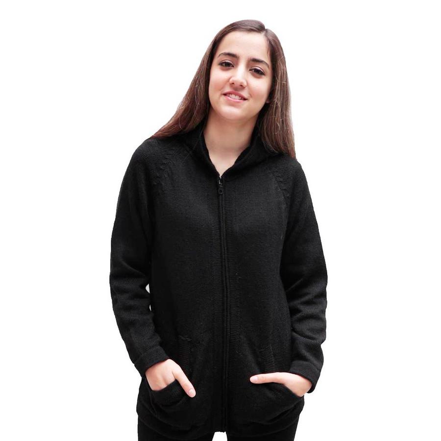 Hooded Alpaca Wool Jacket SZ S Black (14F-033-500S)