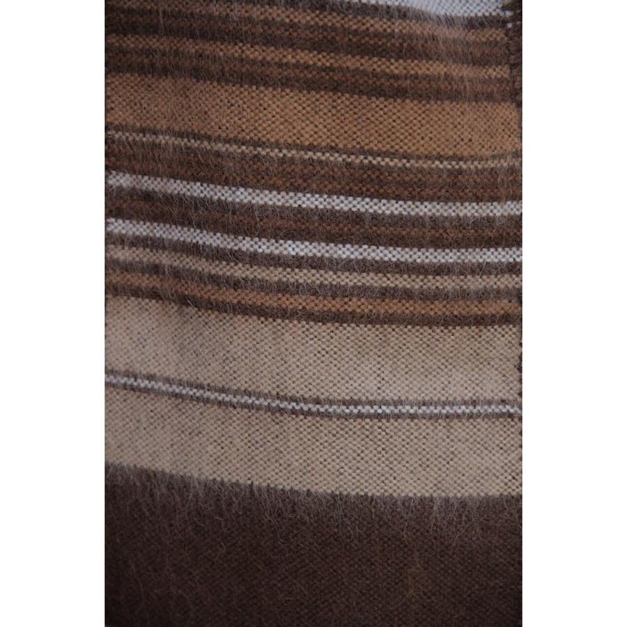 Ethnic Alpaca Wool Poncho & Scarf Brown One SZ (32-014-05291)