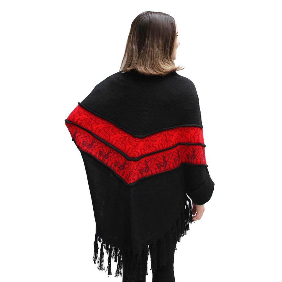 Womens Superfine Alpaca Wool Turtleneck Sleeves Poncho Black One Sz (32S-033-5001)