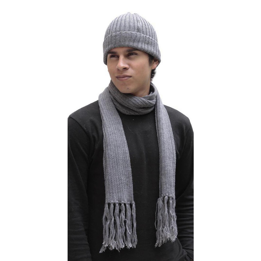 Superfine Alpaca Wool Beanie Hat & Scarf Set Gray (33-003-00896)