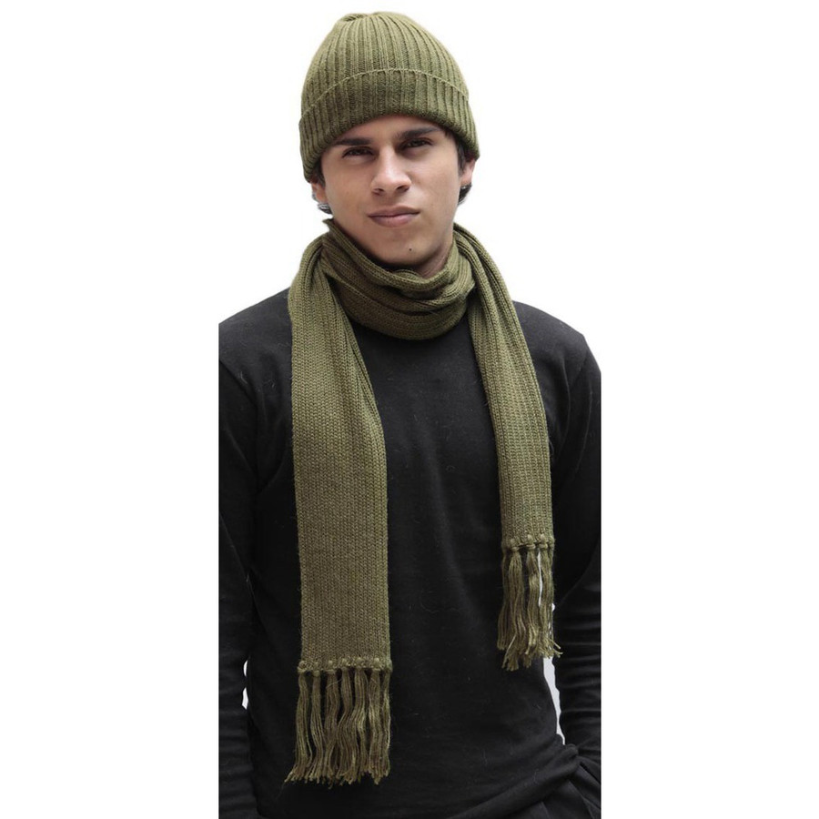 Superfine Alpaca Wool Beanie Hat & Scarf Set Leaf Green (33-064-00875)